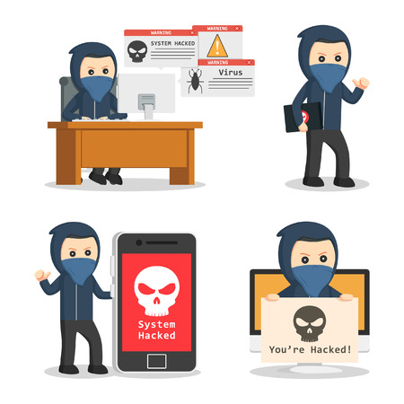 data theft: hacker in action set Illustration
