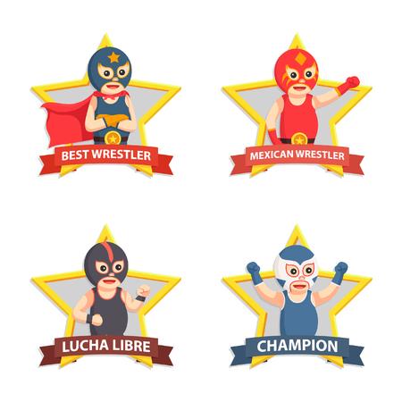 lucha libre emblem set Vectores