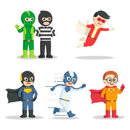 super hero character set Illustration