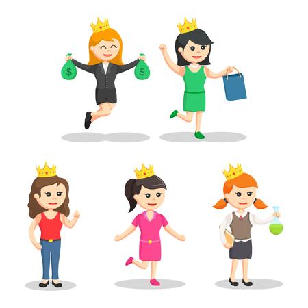 modern princesses set illustration design