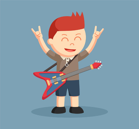 little boy with guitar and metal sig hand