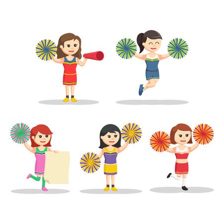 high school sports: cheerleader character set illustration design