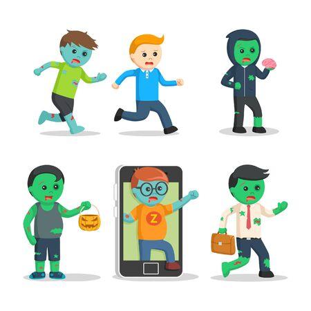 zombie character set illustration design