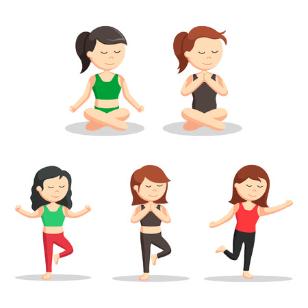 serene people: yoga woman set illustration design