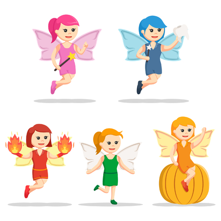 female fairy character set Illustration