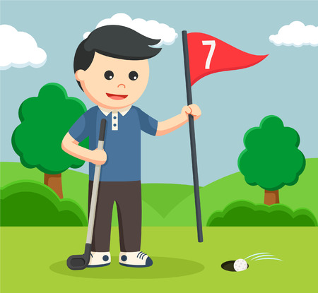 unplug: golfer man unplugging score flag Illustration