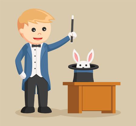 summon: magician summon rabbit from his hat Illustration