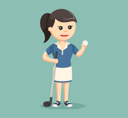 woman golf: golfer woman with golf stick and ball