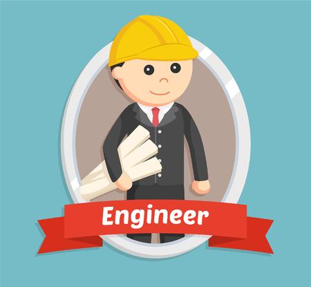 cooperate: engineer in emblem illustration design