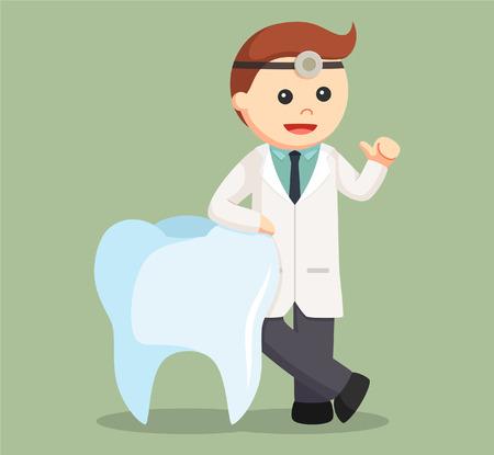 beside: dentist standing beside big tooth