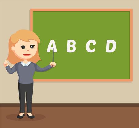 studying classroom: woman teacher in class room Illustration