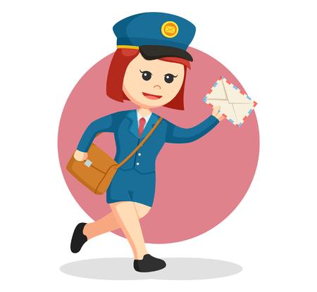 postwoman running delivering letter Illustration