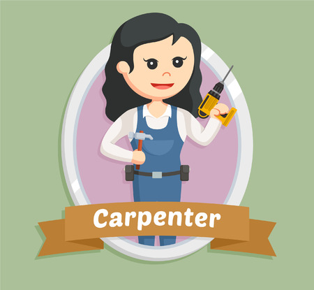 drill: woman carpenter in emblem Illustration