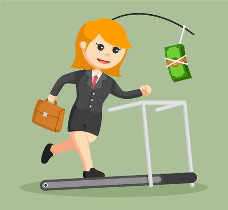business woman chasing money on treadmill Illustration