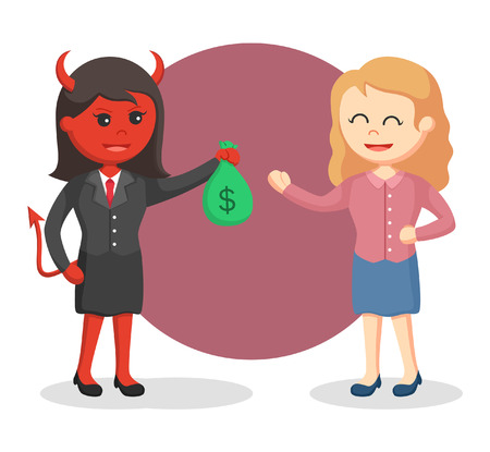 devil businesswoman offer money to her victim Illustration