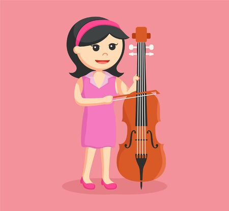 woman musician playing counter bass Illustration