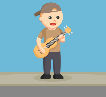 street musician with guitar Illustration