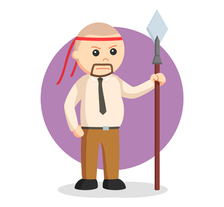 conquering: office warrior with spear Illustration