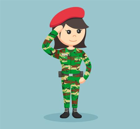 army woman saluting illustration design Illustration