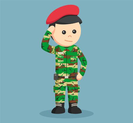 militant: army man saluting illustration design
