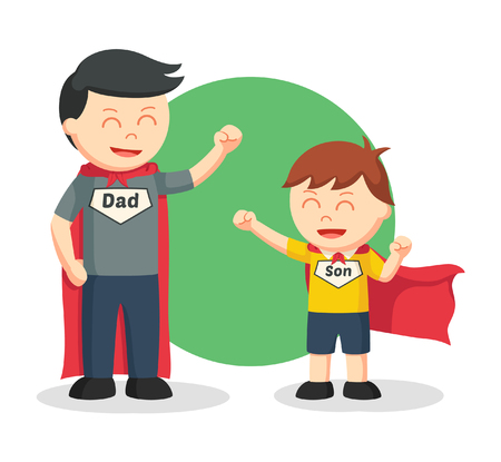 dad son: dad and son playing super hero
