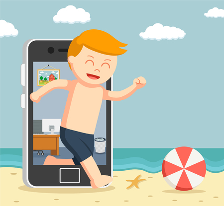 man going vacation trough smartphone