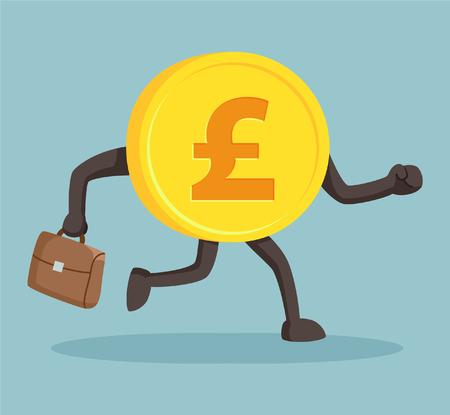 sterlina: carattere di valuta sterlina con valigetta