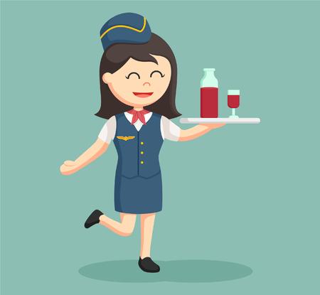stewardess with drinking tray