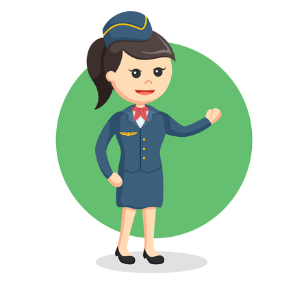 welcoming: stewardess giving welcoming gesture Illustration