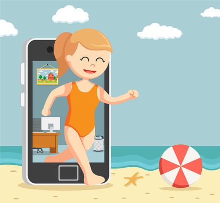 woman going vacation trough smartphone Illustration
