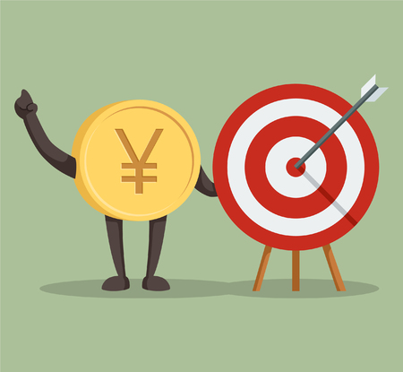 currency character yen with arrow target