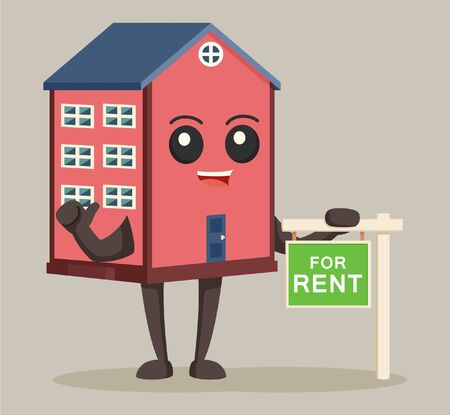 house character with rent sign