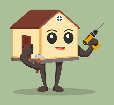 renovating: house character with drill and hammer