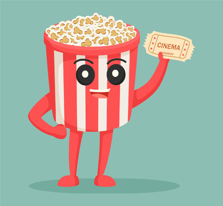entertainment: popcorn character with cinema ticket