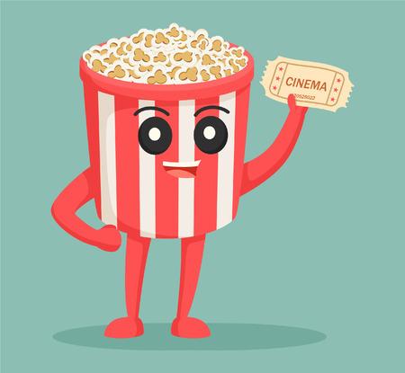 popcorn character with cinema ticket Vektoros illusztráció