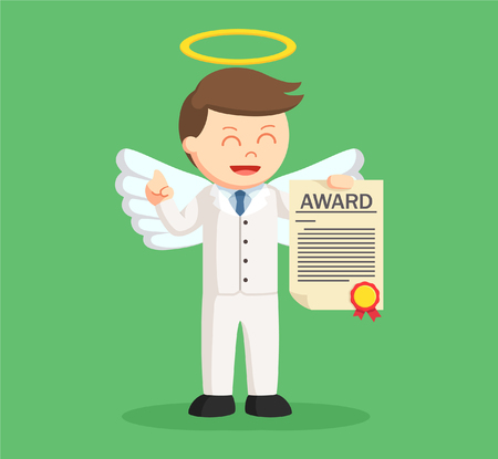 angel businessman with certificate award