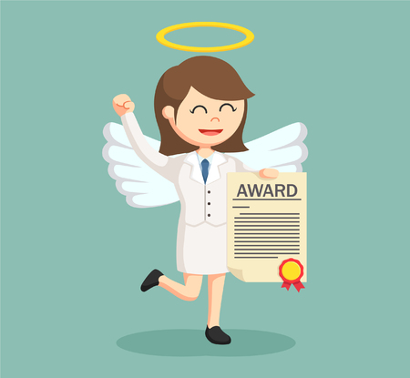angel businesswoman with certificate award