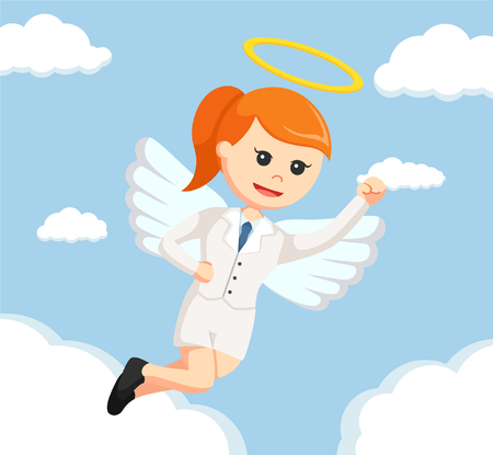 angel businesswoman flying color
