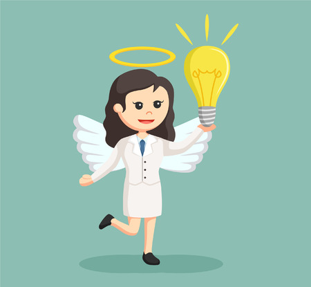 a righteous person: angel businesswoman with big bulb Illustration