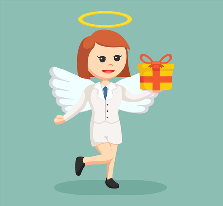 the righteous: angel businesswoman with gift box