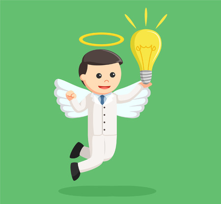 the righteous: angel businessman with big bulb
