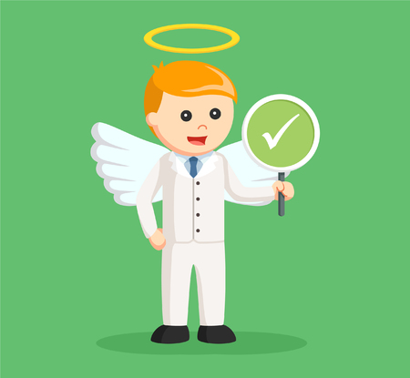 angel businessman with checklist sign
