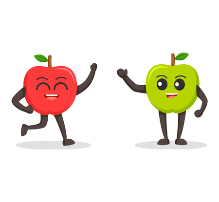 greets: red apple character meet green apple character