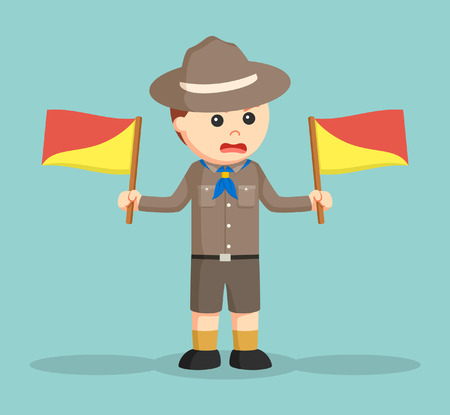 angry boy: angry boy scout holding semaphore flags