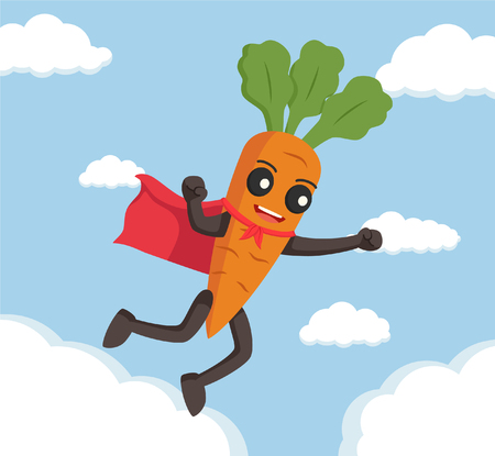 root vegetables: carrot character flying with cape