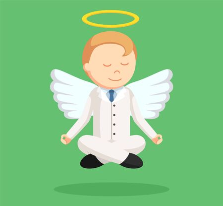 angel businessman flying meditate