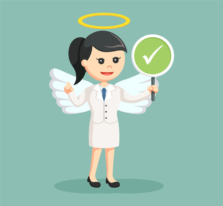 a righteous person: angel businesswoman with checklist sign