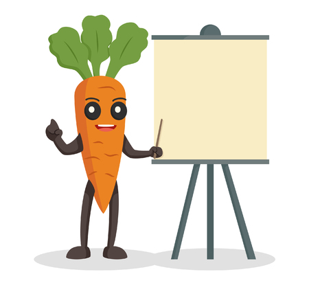 presentation board: carrot character with blank presentation board