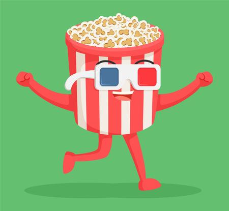 caractère popcorn portant des lunettes 3d