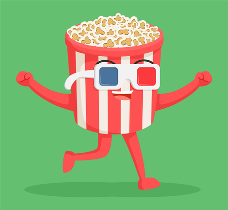 entertainment: popcorn character wearing 3d glasses Illustration